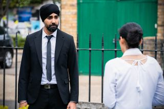 Kheerat Panesar talks to Ash Panesar in EastEnders