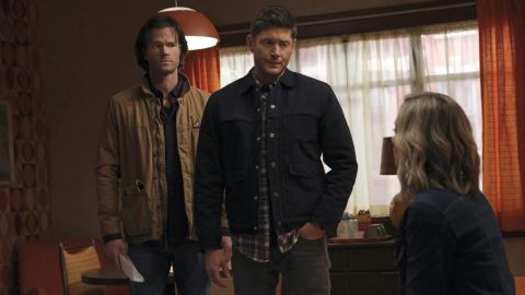 Sam and Dean look on as Caitlin explains the circumstances of her brother's suicide.