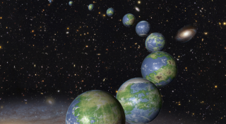 An artist's depiction of rocky, wet planets.