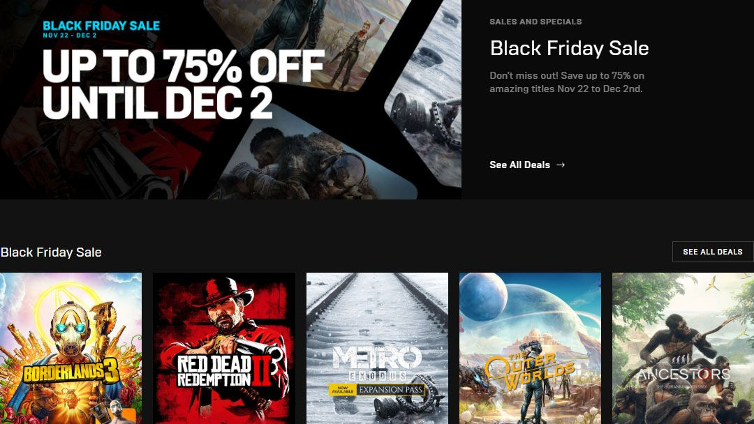 Epic Games Puts Steam To Shame With Its Black Friday Sale Techradar