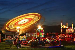 A spinning ride at a fair.
