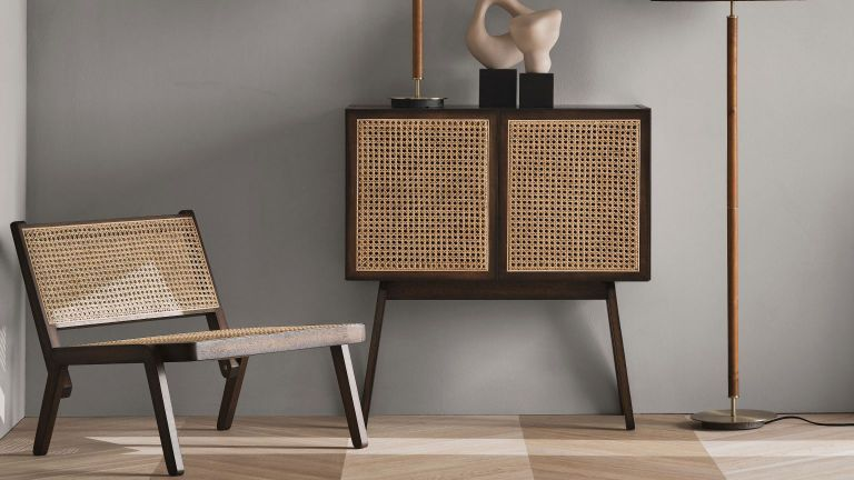 H&M Home Low lounge chair in home beside rattan storage