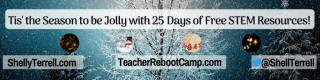 Illustration of snow covered trees and decorations with text: Tis' the Season to be Jolly! 25 Days of STEM Goodies