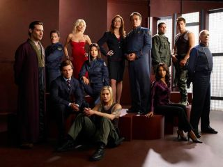 The cast of TV's 'Battlestar Galactica' on the Syfy Channel.
