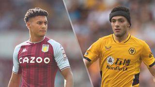 Ollie Watkins of Aston Villa and Raul Jimenez of Wolverhampton Wanderers