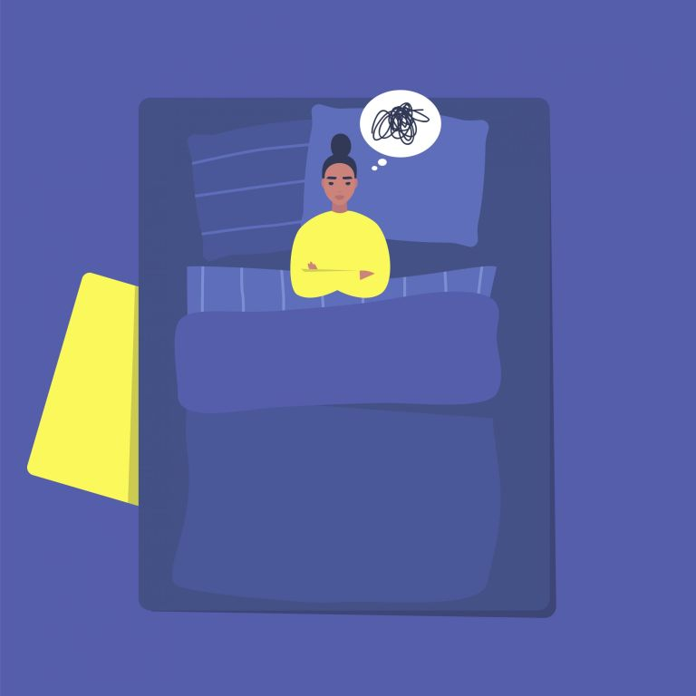 illustration of a woman in bed struggling to sleep