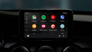 Android Auto's new interface, featuring dark mode, is
