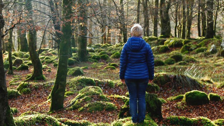 Walking for mental health woman in woodland facing away