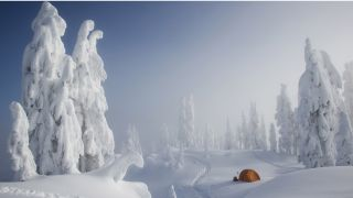 how to go winter camping: tent in extremely wintery scene