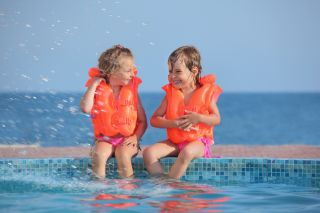 swimming, kids, pool, water, lifejackets, safety