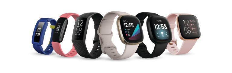 Fitbit full family render of 2020 Q3 product lineup with hero clocks screens