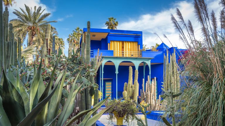 Marrakech, Morocco: Majorelle Garden, Cubist villa designed by Paul Sinoir and purchased by fashion designers, Yves Saint-Laurent and Pierre Bergé