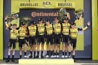 Jumbo-Visma celebrate winning the team time trial at the Tour de France