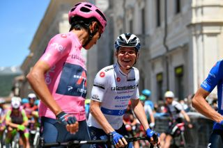 Egan Bernal and Remco Evenepoel at the start of stage 10 at the Giro d'Italia