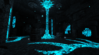 An image of neon teal castle interiors from the Doom WAD Lullaby