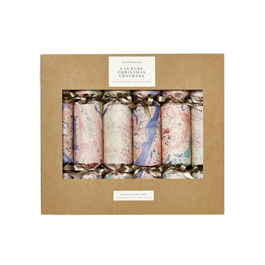 box set of six luxury marbled crackers by katie leamon 40