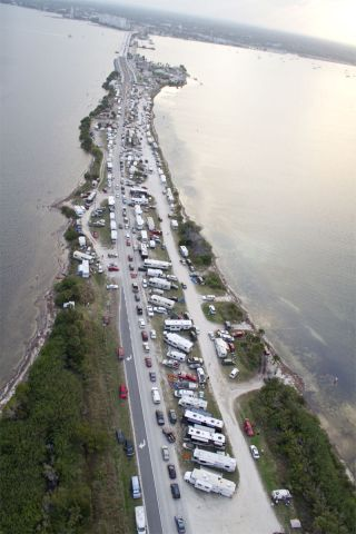 The A. Max Brewer Causeway in Titusville, Fla., was packed with onlookers for the last launch of the space shuttle Discovery in February 2011.