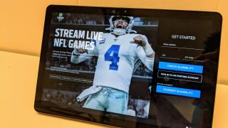 NFL Sunday Ticket on Chromebook Duet tablet showing Dak Prescott of Cowboys