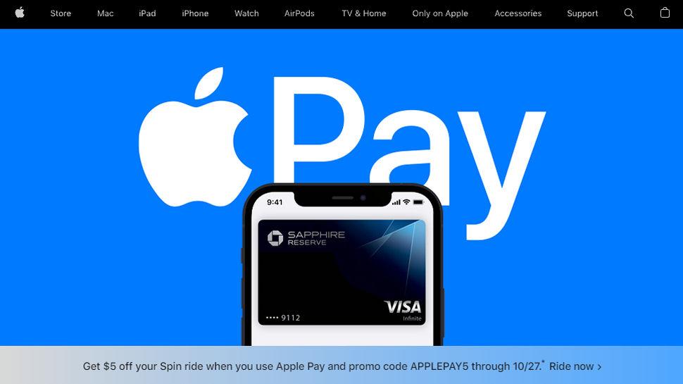 Website screenshot of Apple Pay