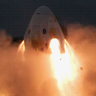 SpaceX test-fired the eight SuperDraco launch abort engines on its Crew Dragon spacecraft in a successful ground test on a pad at the Cape Canaveral Air Force Station in Florida on Nov. 13, 2019. The system is designed to keep astronauts safe in a launch emergency.