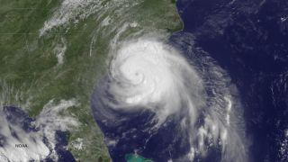 Hurricane Arthur satellite image, 2014 hurricane season, flooding