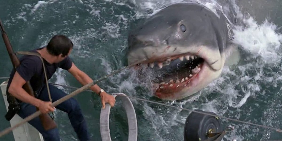 Roy Scheider and Bruce from Jaws