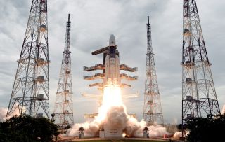 India's Chandrayaan-2 Moon mission blasts off from Satish Dhawan Space Centre in Sriharikota, India, on 22 July 2019.