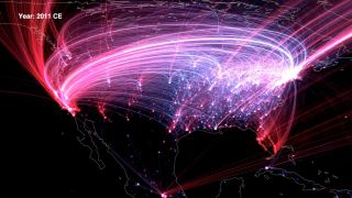 Visualization of birth-death dynamics (with dots and lines representing notable individuals moving toward their death locations), in North America through 2012.