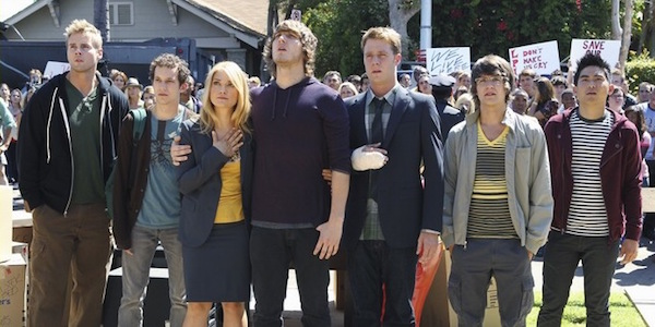 the cast of Greek outside the house