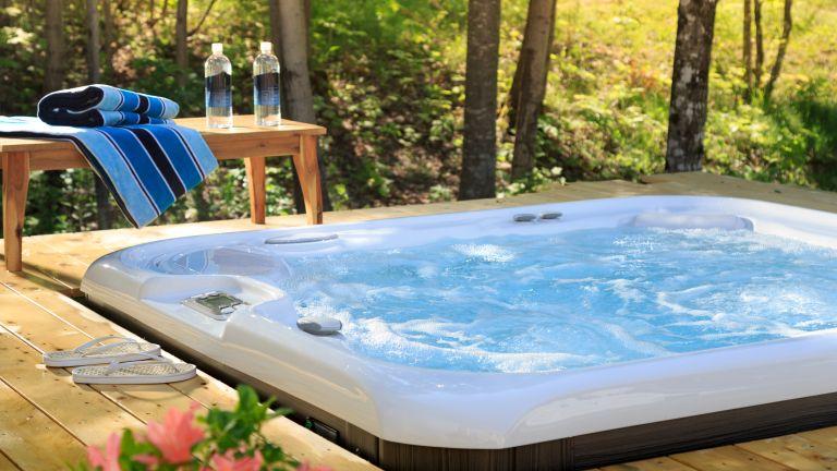 Hot tub built into a wooden deck