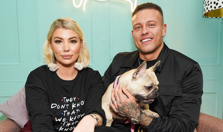 Olivia Buckland (L) and Alex Bowen attend the launch of Klarna's first ever UK 'Pup-UP' on on November 26, 2019 in London, England