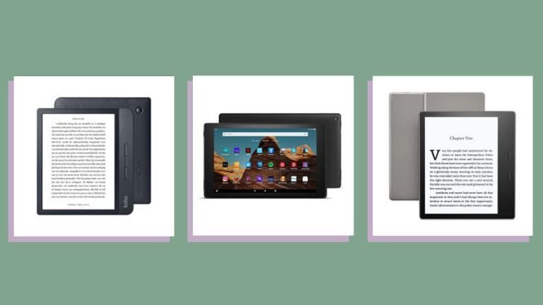 a collage image featuring a selection of w&h best ereaders—the Kindle Oasis, Kobo Libra, and Amazon Fire HD
