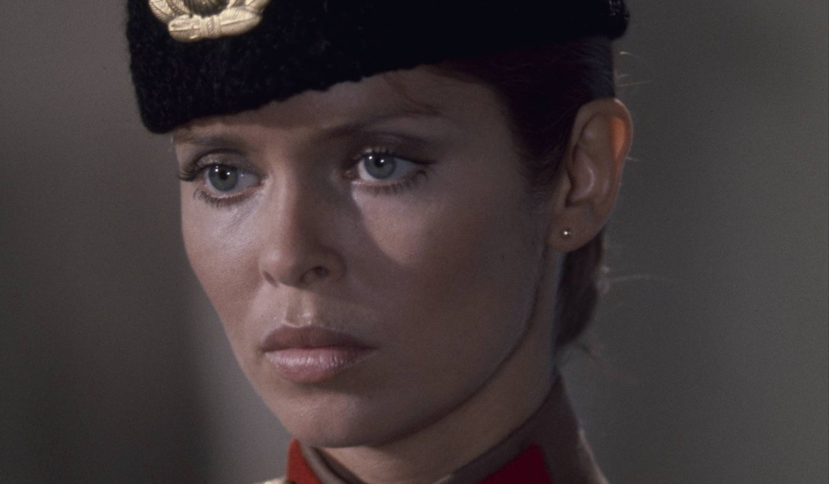 Barbara Bach in uniform, receiving orders in The Spy Who Loved Me