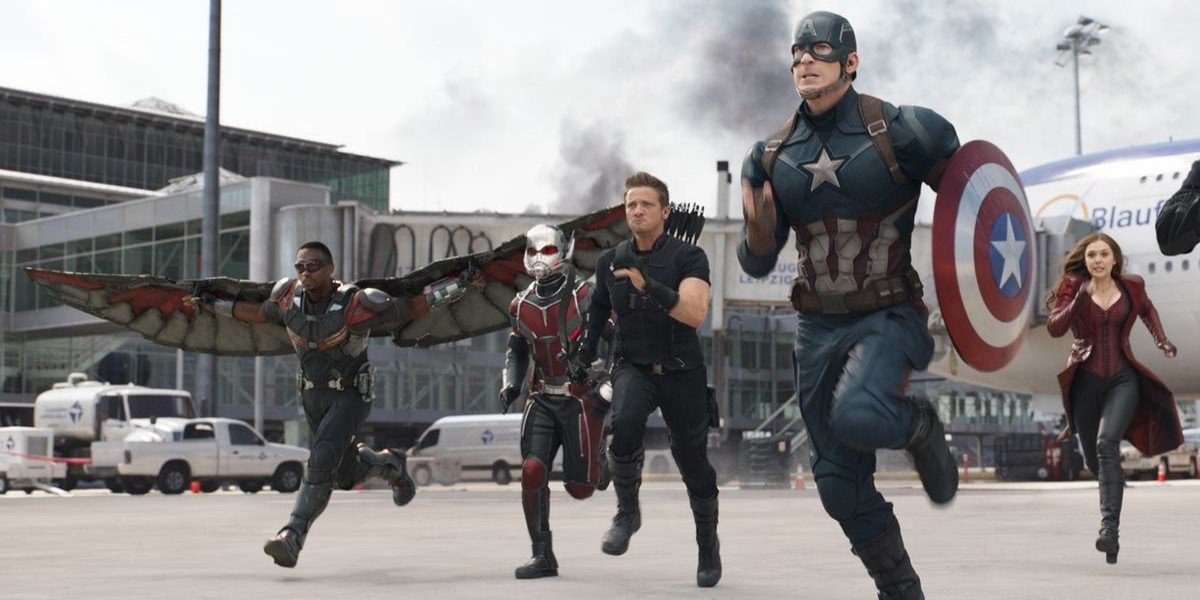 Heroes charging into battle in Captain America: Civil War
