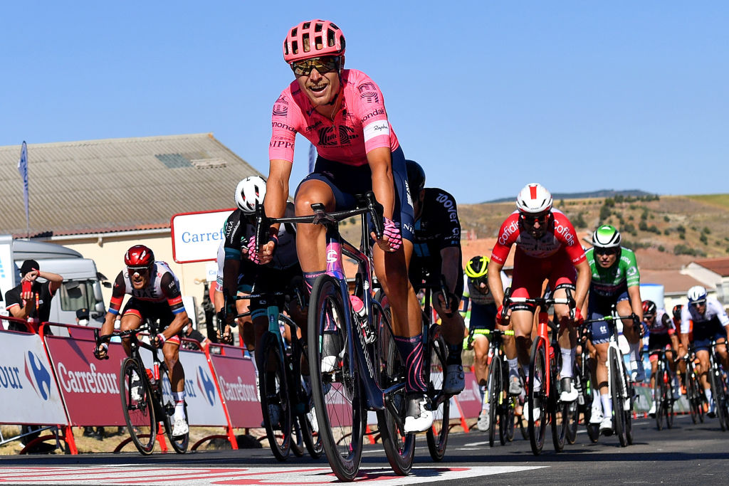 MOLINA DE ARAGON SPAIN AUGUST 17 Magnus Cort Nielsen of Denmark and Team EF Education Nippo crosses the finishing line in third place during the 76th Tour of Spain 2021 Stage 4 a 1639km stage from El Burgo de Osma to Molina de Aragn 1134m lavuelta LaVuelta21 on August 17 2021 in Molina de Aragn Spain Photo by Stuart FranklinGetty Images