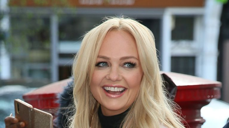 LONDON, ENGLAND - APRIL 12: Emma Bunton is seen arriving at BBC Radio Two Studios to promote her new album 'My Happy Place' on April 12, 2019 in London, England. (Photo by Ian Lawrence/GC Images)
