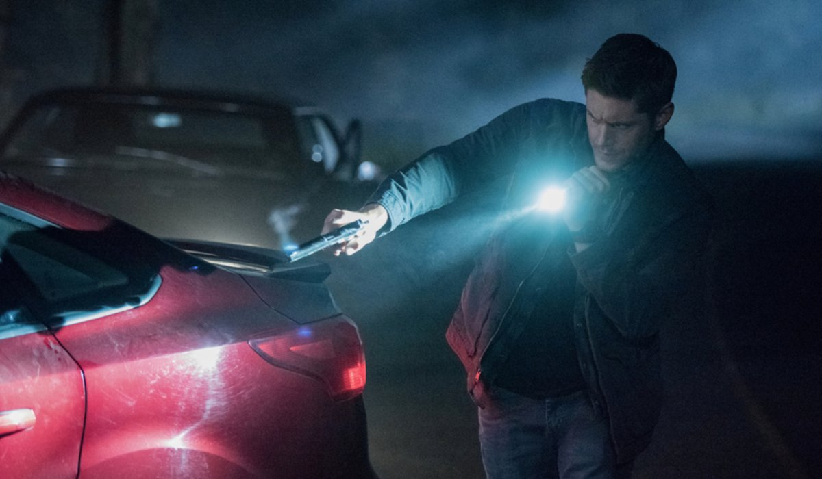 supernatural season 15 premiere woman in white car dean dark