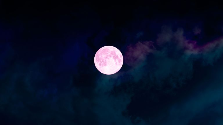 pink supermoon in the sky