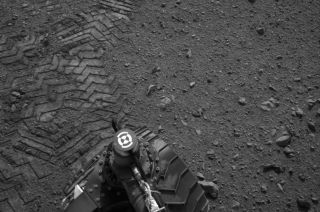 "Curiosity's tracks on Mars spell out ""JPL"" in Morse code."