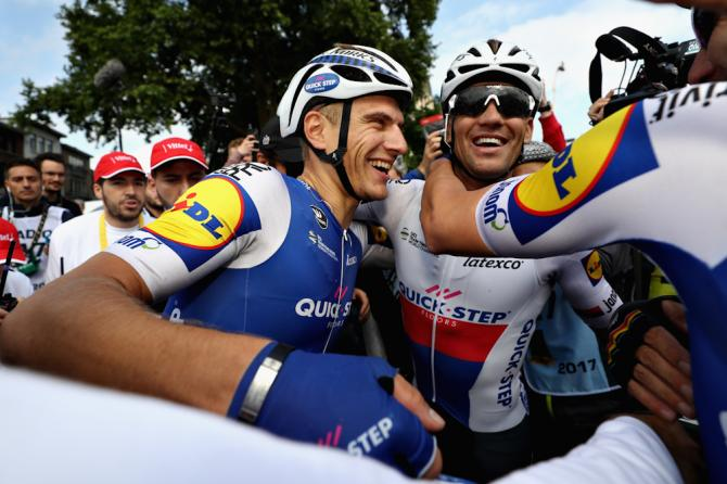 Teammates congratulate Marcel Kittel (Quick-Step Floors) after winning stage 2 at the Tour de France