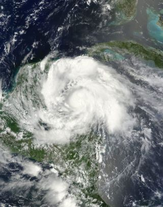 Tropical Storm Ernesto, spied by satellite.