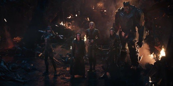 Avengers: Infinity War Tom Hiddleston Loki flanked by the Black Order