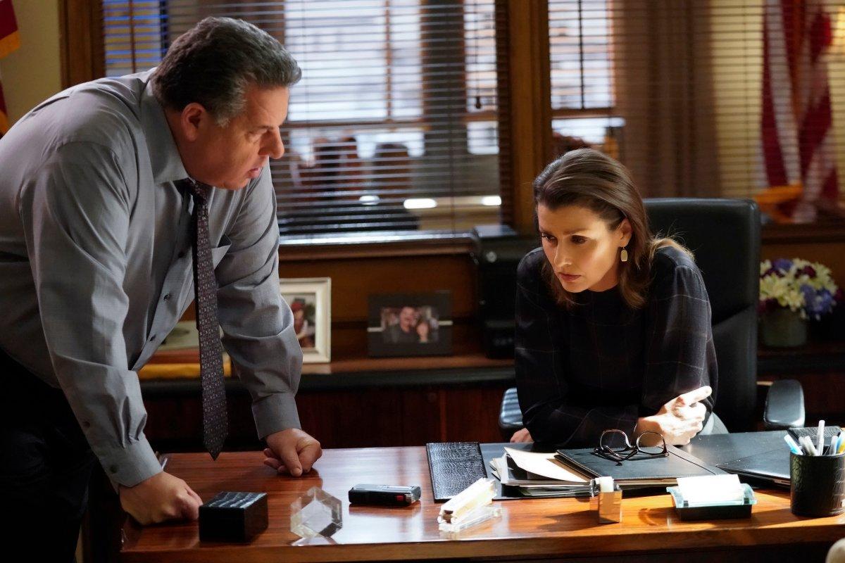 Blue Bloods Season 10 Bridget Moynahan as Erin Reagan and Steven Schirripa as Anthony Abetamarco CBS