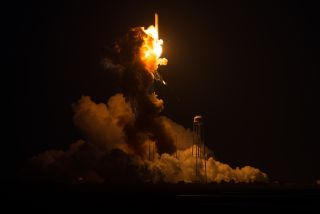 The Orbital Sciences Corporation Antares rocket, with the Cygnus spacecraft onboard suffers a catastrophic anomaly moments after launch from the Mid-Atlantic Regional Spaceport Pad 0A, Tuesday, Oct. 28, 2014, at NASA's Wallops Flight Facility in Virginia.