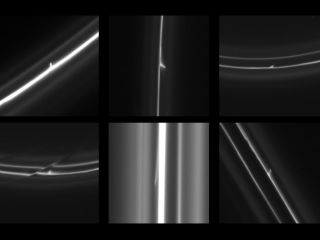 New Cassini photos show mini jet trails in Saturn's outermost F ring, likely created by snowballs flying through the icy ring.