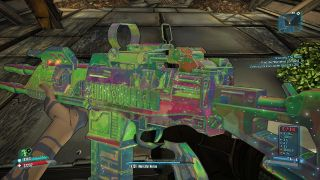 Examining a shiny assault rifle in Borderlands 2