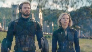 Chris Evans and Scarlett Johanssen as Captain America and Black Widow in Avengers: Infinity War during the battle of Wakanda
