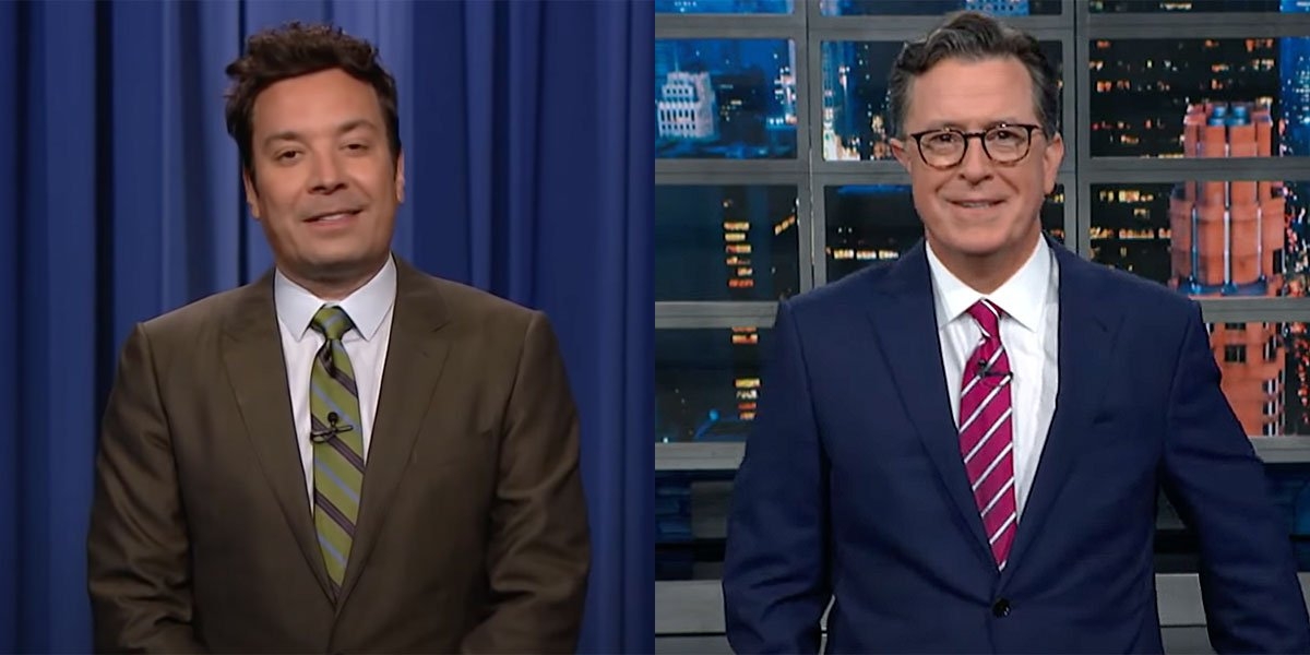 Jimmy Fallon and Stephen Colbert hosting The Tonight Show and The Late Show, respectively, to live audiences