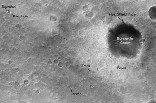 Mars Orbiter Spots Rover's Tracks from Space