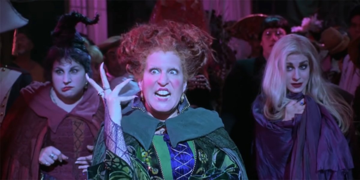 The Sanderson Sisters putting a spell on the parents of Salem